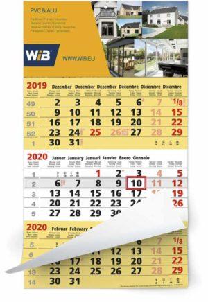 Calendrier 3 mois 12 feuillets mono bloc business jaune