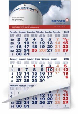 Calendrier 3 mois feuillets mono bloc classic bleu