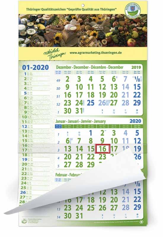 Calendrier 3 mois 12 feuillets mono bloc eco memo