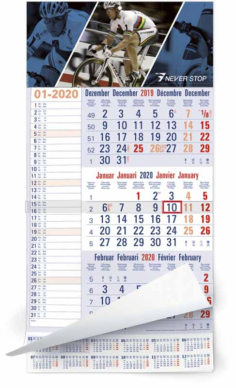 Calendrier 3 mois feuillets mono bloc memo plan bleu