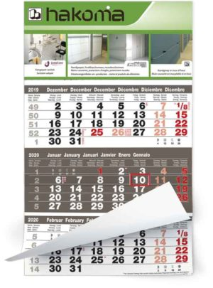 Calendrier 3 mois 12 feuillets mono bloc midi focus gris