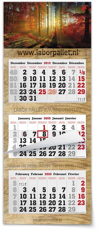 Calendrier 3 mois feuillets multi blocs maxi BG post