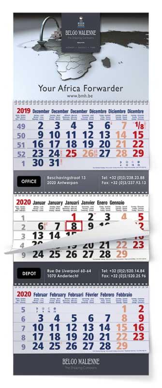 Calendrier trimestriel feuillets multi blocs maxi xtra bleu