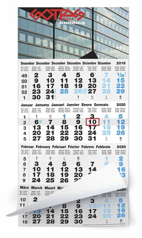 Calendrier 4 mois feuillets mono bloc classic gris bleu