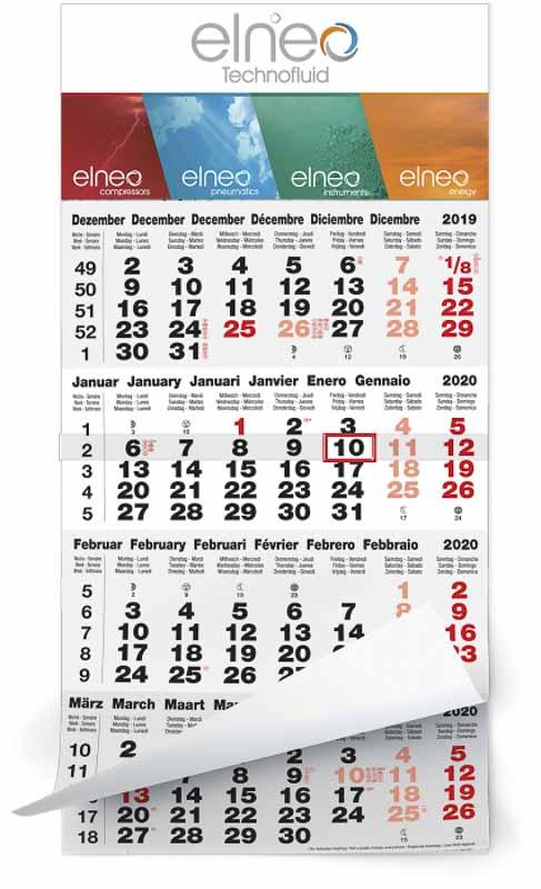 Calendrier 4 mois feuillets mono bloc classic gris rouge