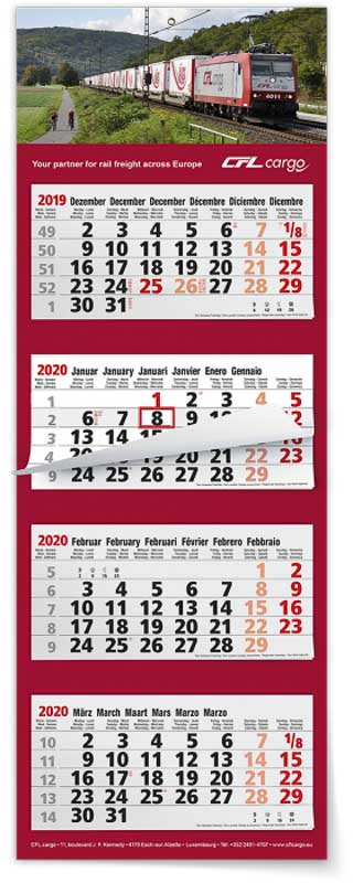 Calendrier 4 mois feuillets multi blocs maxi compact