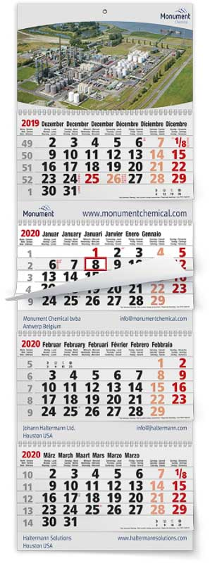 Calendrier 4 mois feuillets multi blocs maxi xtra gris