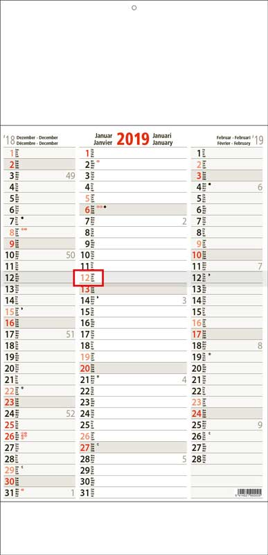 Calendrier-publicitaire-monobloc-3-mois-Tri-Memo-Super-3M14.1-TRM-beige