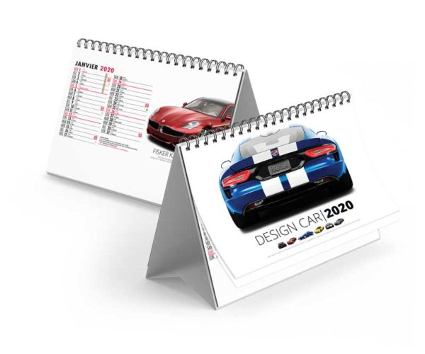 Calendrier-publicitaire-chevalet-de-bureau-13-feuillets-design-car-2020