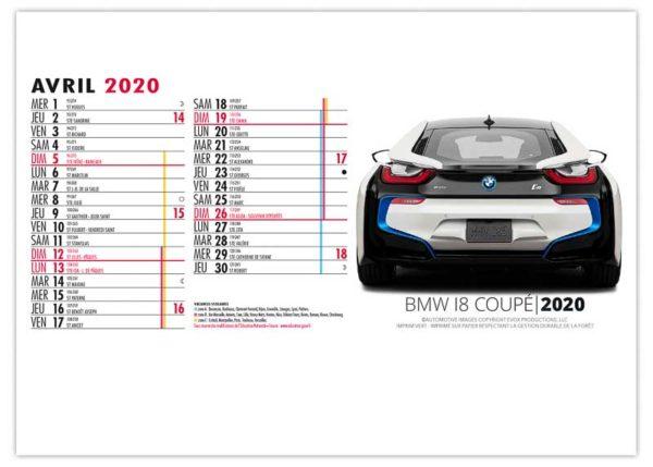 Calendrier-publicitaire-chevalet-de-bureau-13-feuillets-design-car-décembre-2020
