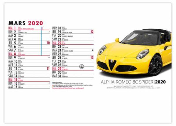 Calendrier-publicitaire-chevalet-de-bureau-13-feuillets-design-car-mars-2020