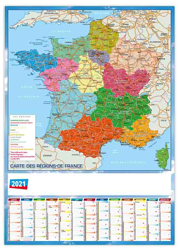 calendrier effaçable mural carte de France