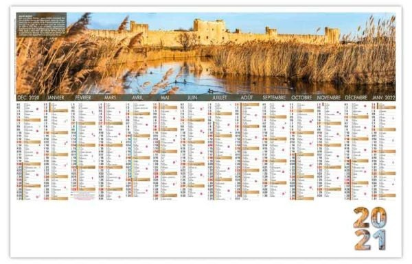 planning calendrier entreprise avec photo d'Aigues-Mortes