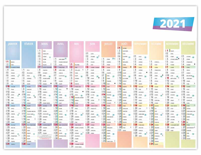 Calendrier Publicitaire 2021 Calendrier publicitaire bancaire planning PASTEL | MS Calendriers