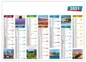 Calendrier bancaire photographies de la France