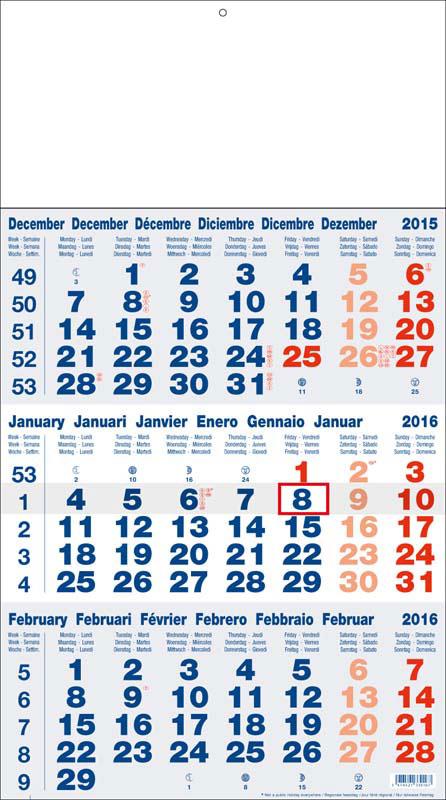 Calendriers publicitaires 3 mois monobloc
