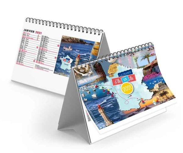Calendrier chevalet pour les entreprises avec photo des iles de la france