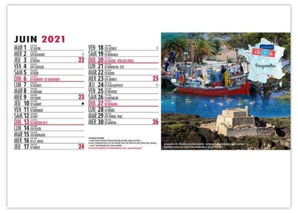 calendrier chevalet iles de la France Porquerolles