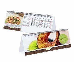Calendrier publicitaire chevalet avec 12 recettes cuisine
