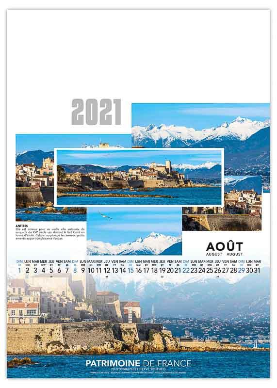 calendrier-publicitaire-mural-illustre-feuilles-photo-patrimoine-de-france-aout-2021