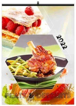 calendrier en feuilles publicitaire mural cuisine plats et desserts