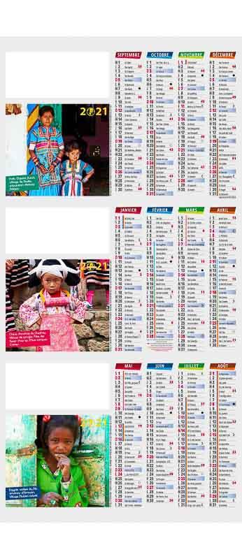 Calendrier de comptoir enfants en costume du pays