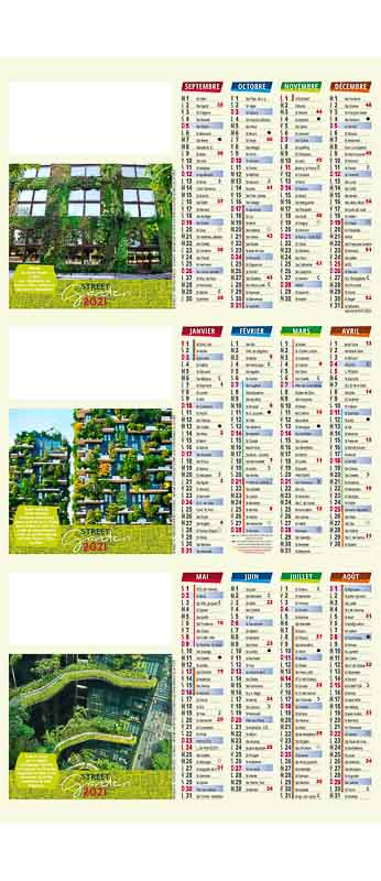calendrier avec immeuble recouvert de verdure