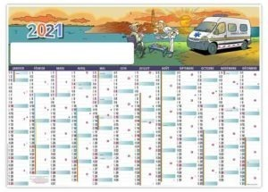 calendrier planning dessin humoristique ambulancier