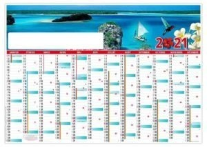 Calendrier planning effaçable photo exotique