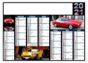 Calendrier bancaire photos voitures de sport