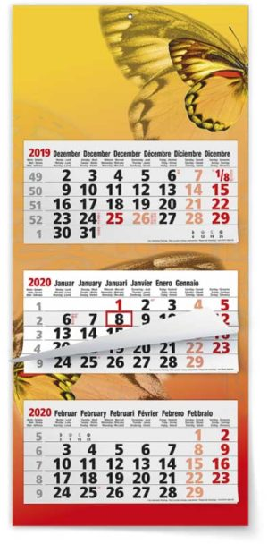 Calendrier 3 mois feuillets multi blocs maxi compact