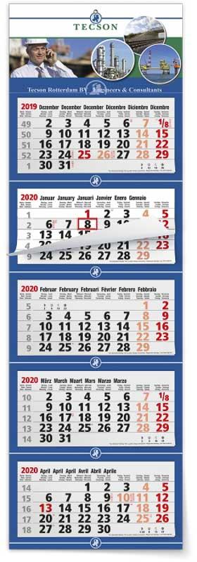 Calendrier 5 mois feuillets multi blocs maxi compact gris
