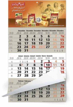 Calendriers publicitaires 3 mois monobloc avec photo d'entreprise