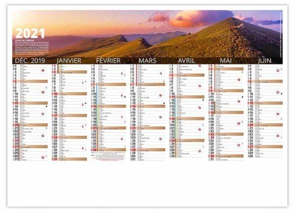 calendrier bancaire paysage volcan d'auvergne