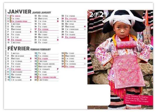 calendrier chevalet enfant chinois fétes de fleurs
