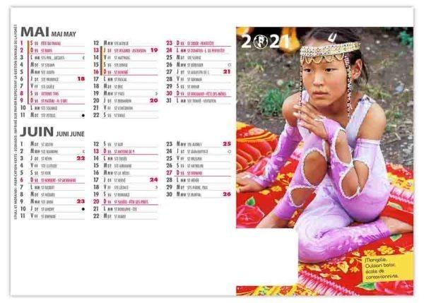 calendrier chevalet danseurs école mongolie