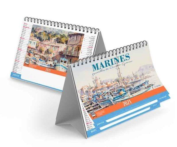 calendrier publicitaire chevelet aquarelle Marine