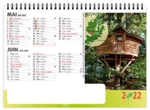 calendrier publicitaire bancaire chevalet de bureau cabanes dans les arbres 7 feuilles