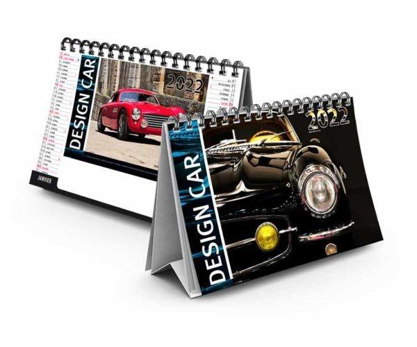 calendrier publicitaire chevalet de bureau design car 7 feuilles