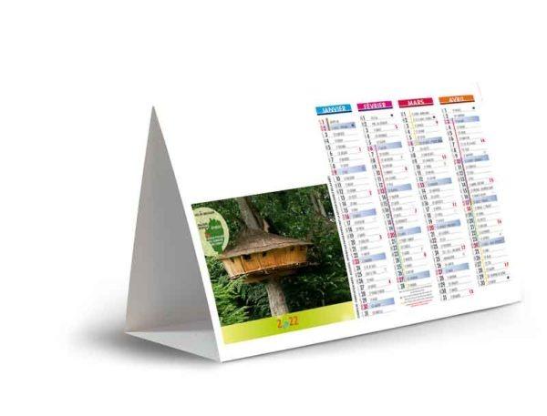 calendrier publicitaire chevalet de comptoir cabanes dans les arbres