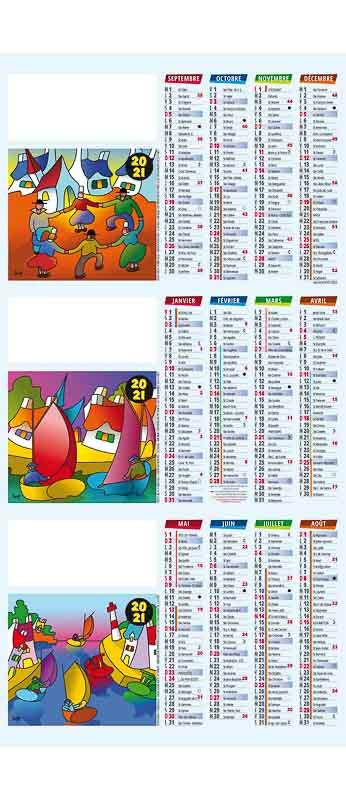 calendrier chevalet comptoir dessin scénes bretonne