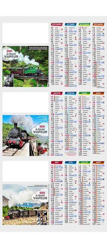 calendrier comptoir photo train à vapeur