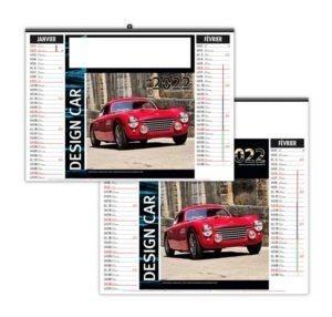calendrier publicitaire mural en 7 feuilles voitures de courses
