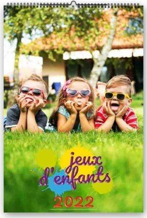 calendrier publicitaire mural photographies jeux d'enfants 7 feuillets